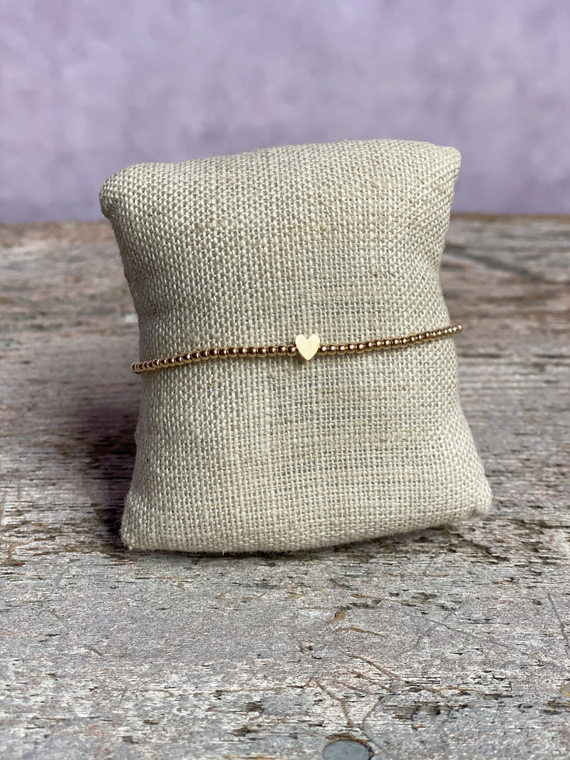 Gold Filled Ball Bracelet 2mm with 14K Gold Heart Bead