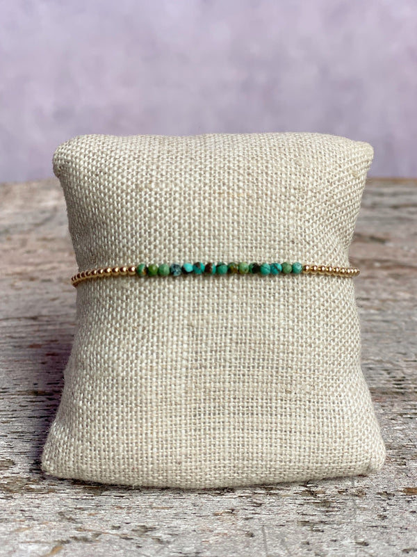 Gold Filled Ball Bracelet 2mm with Mixed Turquoise