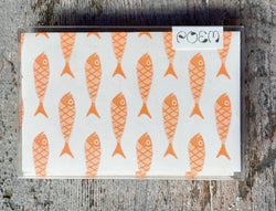 Notecards Set of 12 - Orange Fishies