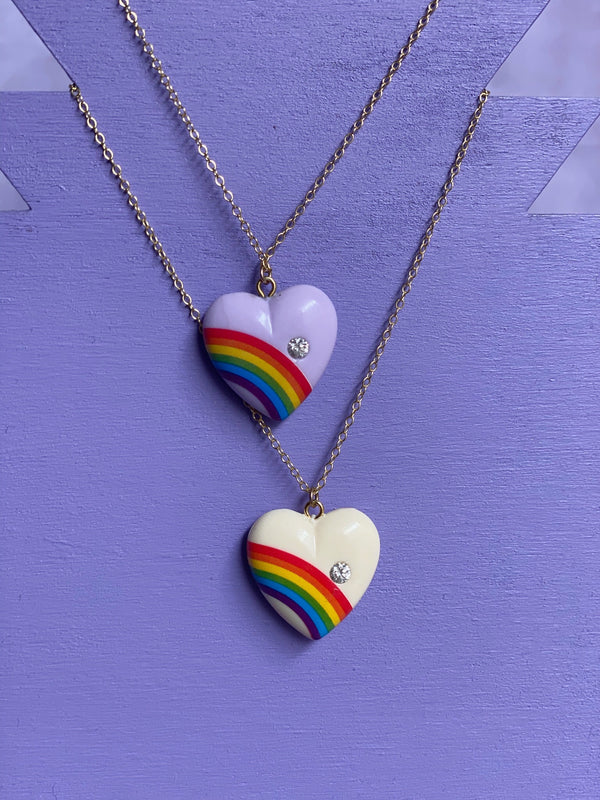 Rainbow Heart Necklace with Diamond - Purple