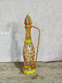 Vintage Tall Scoubidou Bottle - Gold Wire