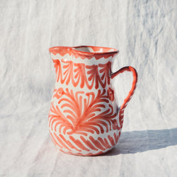 Small Hand Painted Pitcher - Coral