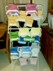 Washable nappies drying on a rack