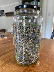 Lavender and rice in an old olive jar
