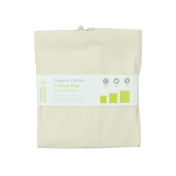 Reusable Organic Cotton Produce Bags Multipack of 3, by A Slice of Green
