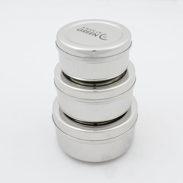 Plastic Free Stainless Steel Set of 3 Containers, by Slice of Green