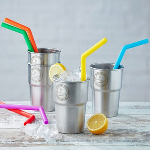Reusable plastic-free Silicone Straws (pack of 6), EcoLiving