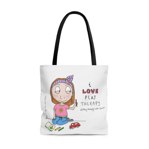 I Love Play Therapy Tote Bag (girl)
