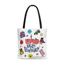 Load image into Gallery viewer, Doodle I Love Play Therapy Tote Bag