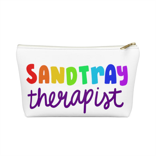 White Sandtray Therapist Accessory Pouch w T-bottom