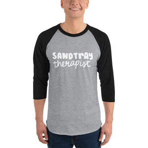 Sandtray Therapist 3/4 sleeve raglan shirt (White writing)