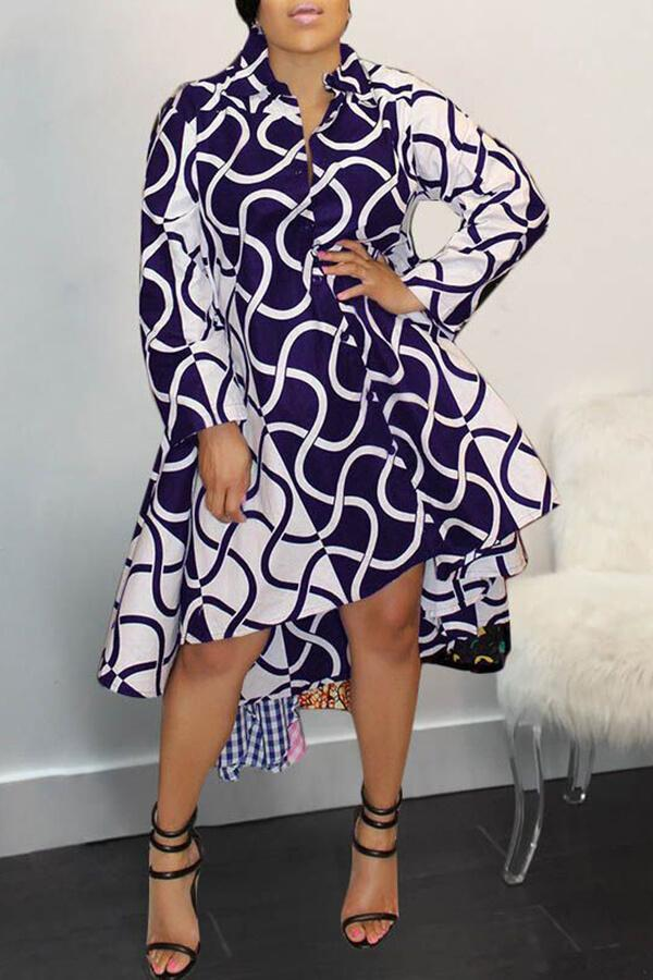 Geometric Print Long Sleeve Shirt Collar Buttons Multi-Length Dress