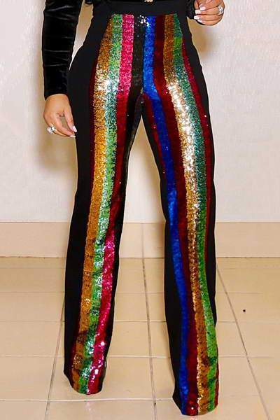Sequined Striped Pants
