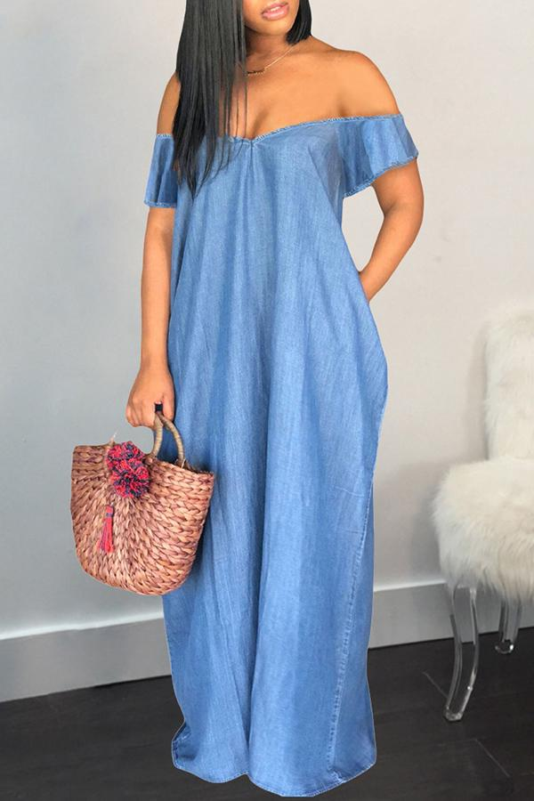 Blue Off Shoulder Dress
