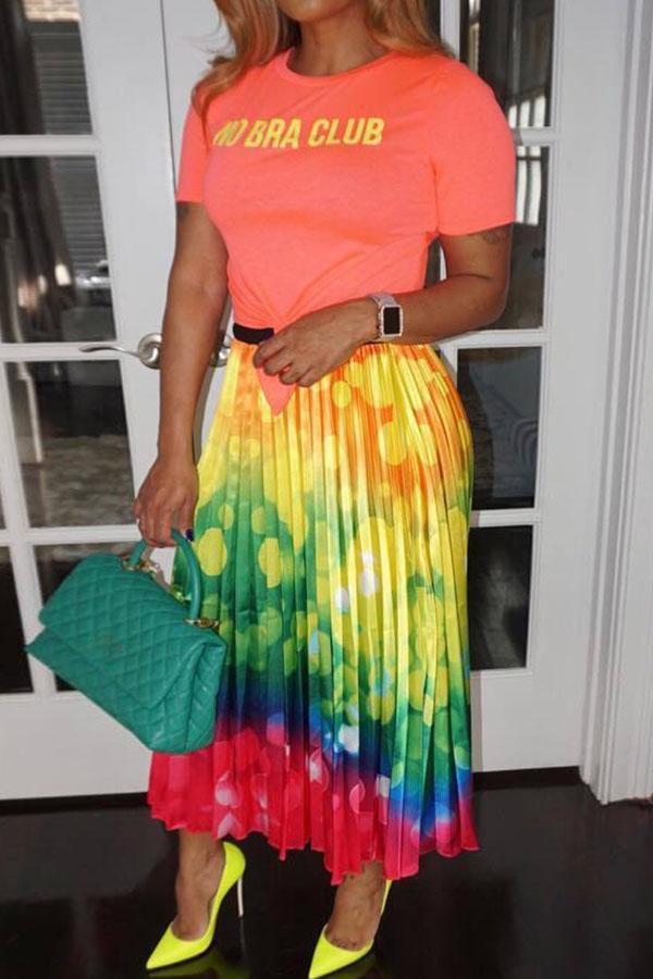Color Print Pleated Skirt