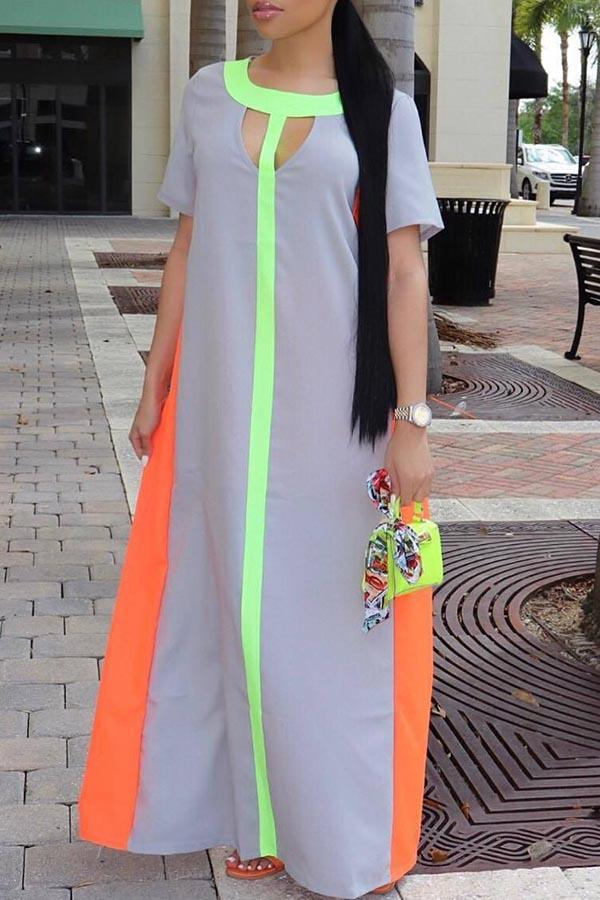 Hollowing out Spliced Short sleeved long skirt