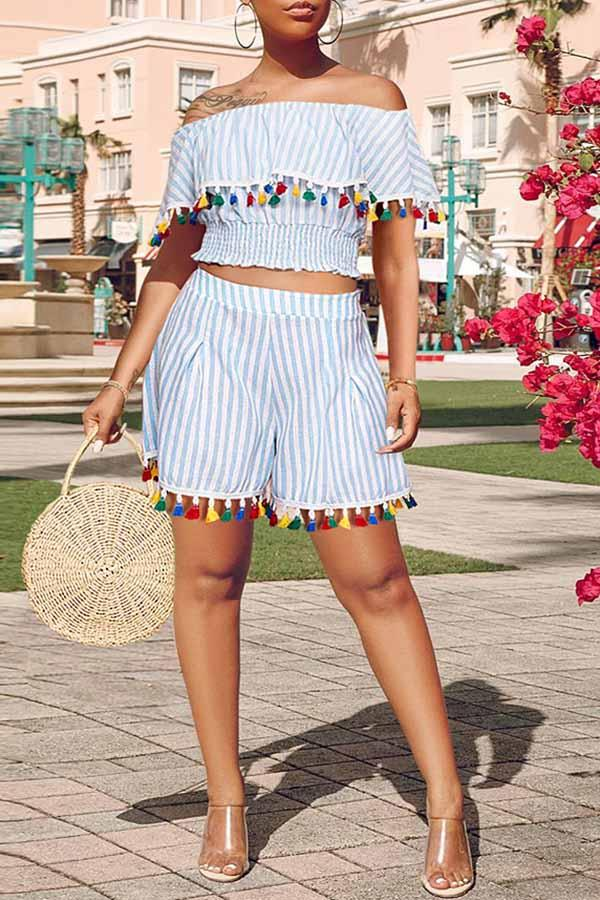 Stripe Ruffle Tassel Slash Neck Set