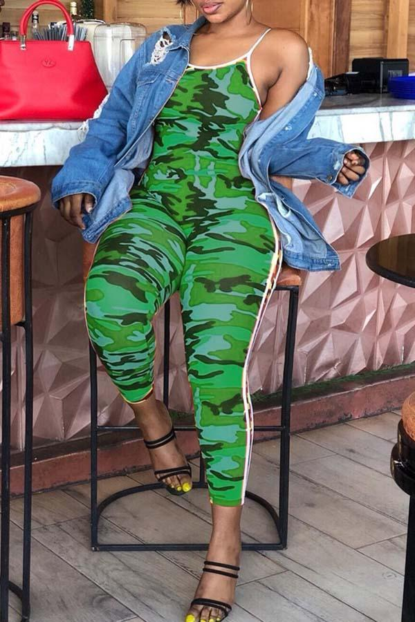 Sexy Shoulder-exposed Camouflage Printed Jumpsuit