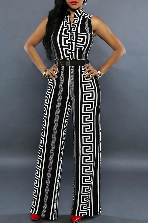Printed Vertical Collar Straight Leg Jumpsuit
