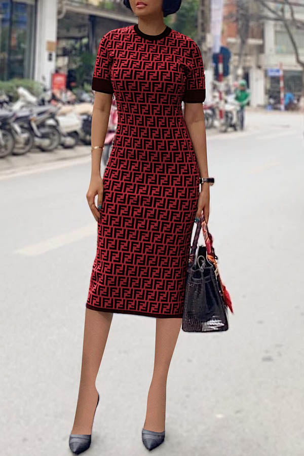 English Letter Print Slim Dress