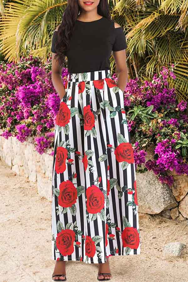 Solid Colour Top Print Skirt Set