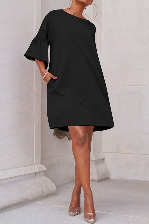 Loose Bell Sleeve Splicing Mesh Shirt Dress