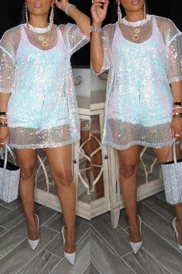 Sequined Perspective Short Sleeve Top