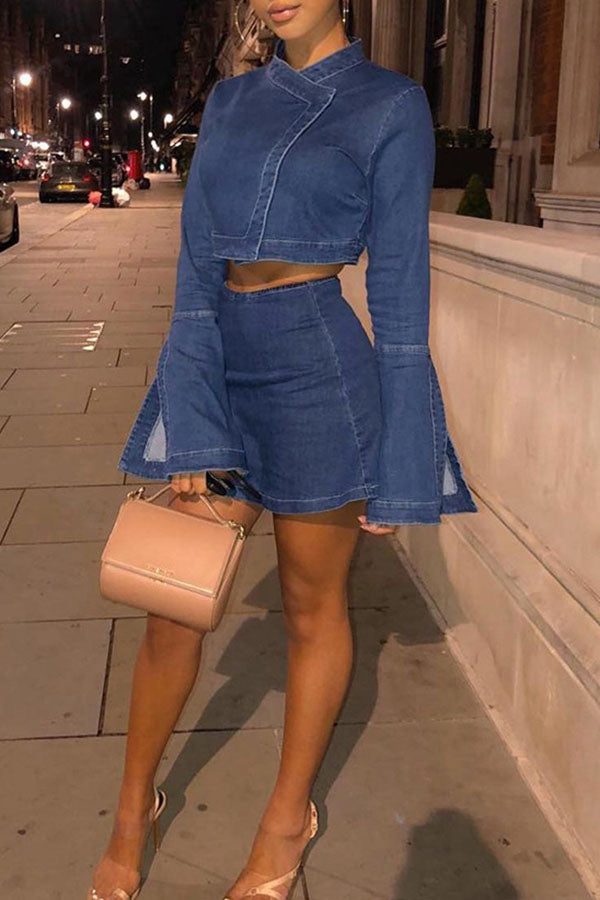 Flared-Sleeved Denim Skirt Two-Piece Sets