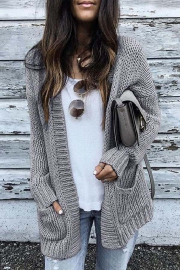 Solid Color Long-Sleeved Cardigan