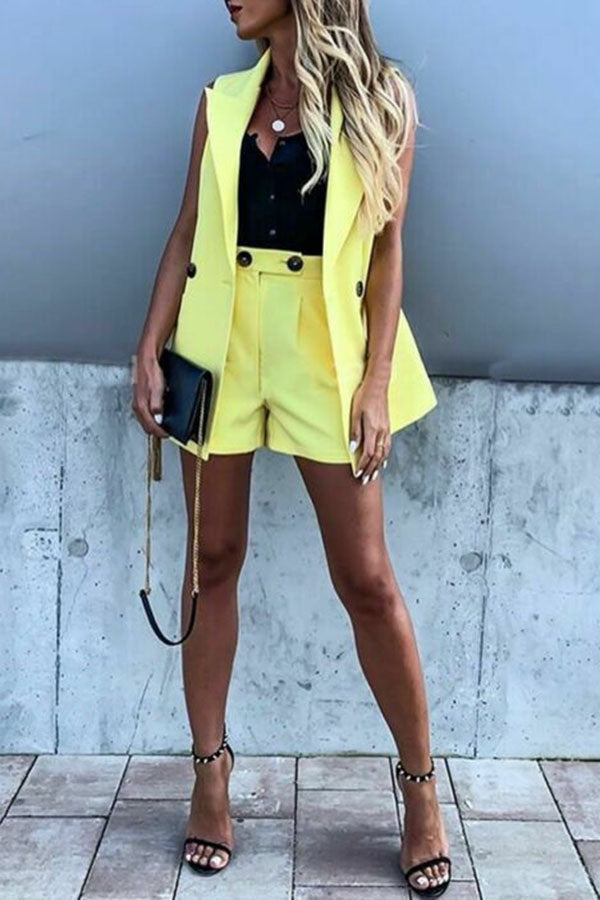 Solid Color Waistcoat Wide-Legged Shorts Suit