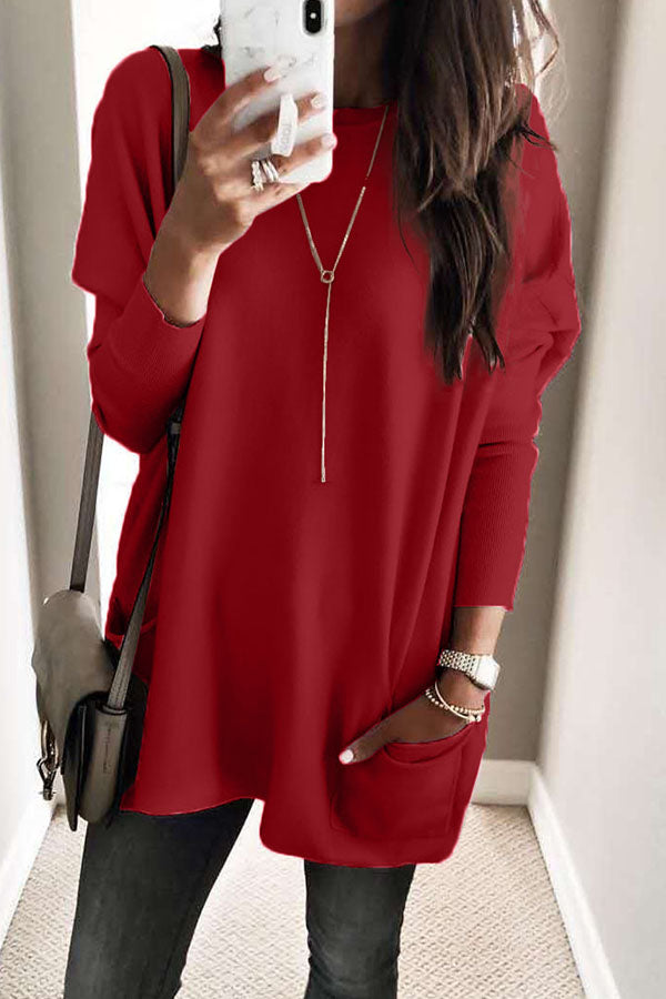 Solid Color Long Sleeve Pocket Top