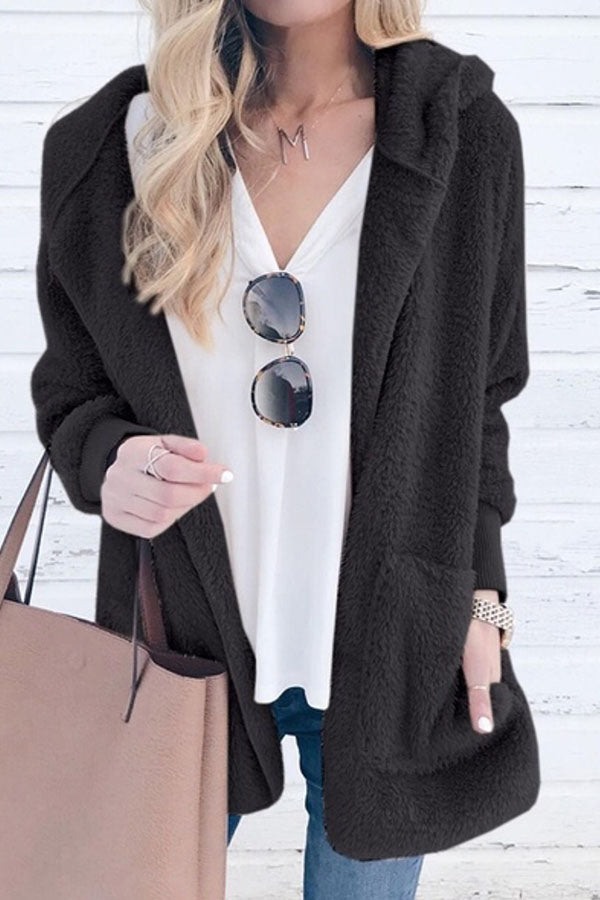 Solid Color Plush Cap Long Sleeve Cardigan Coat
