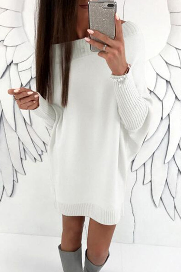 Loose Round-Neck Long-Sleeve Dress