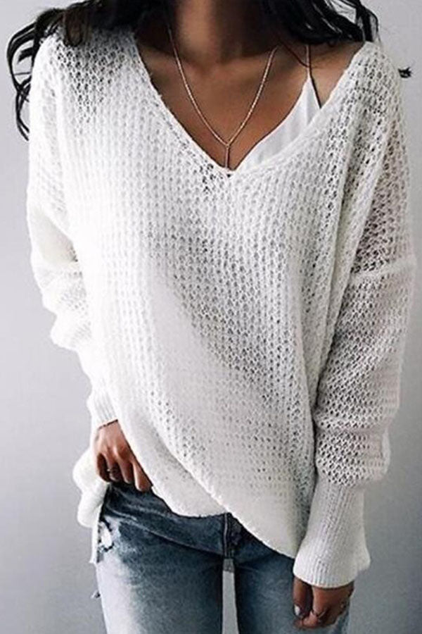 Solid Color V-Neck Top