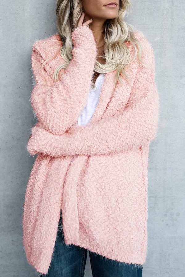 Solid Colour Fur Cap Coat