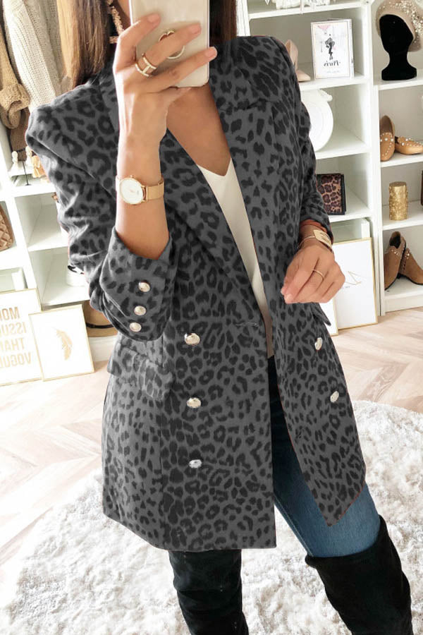 Lapel Long Sleeve Leopard Print Coat