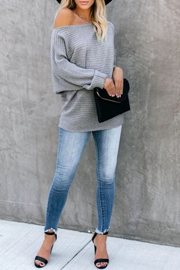 Loose Solid Color Knitted Sweater