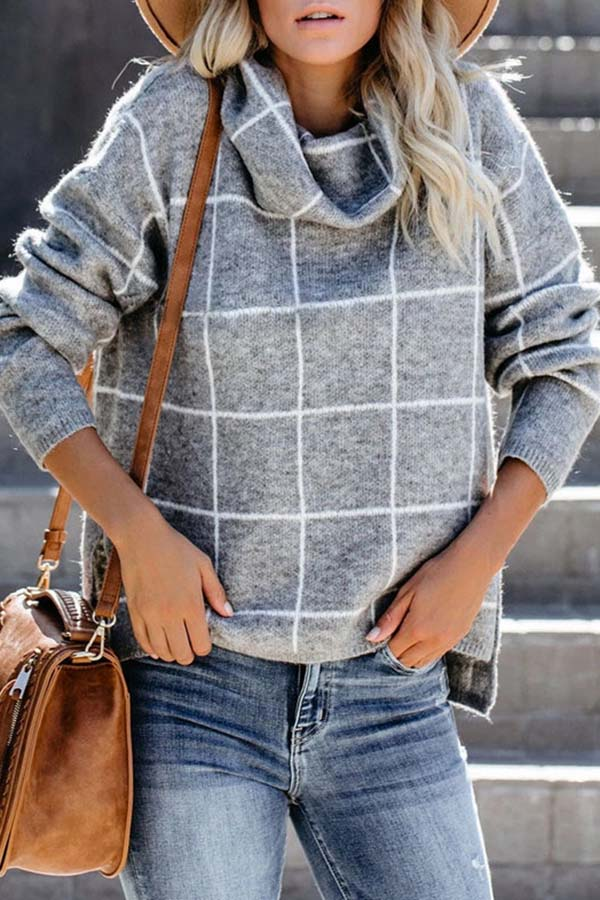 Checked High Collar Sweater
