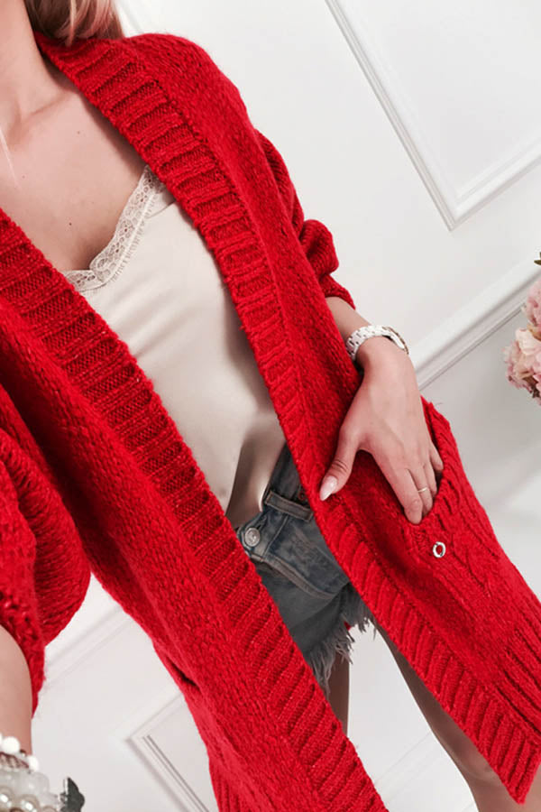 Solid Color Pocket Knitted Cardigan