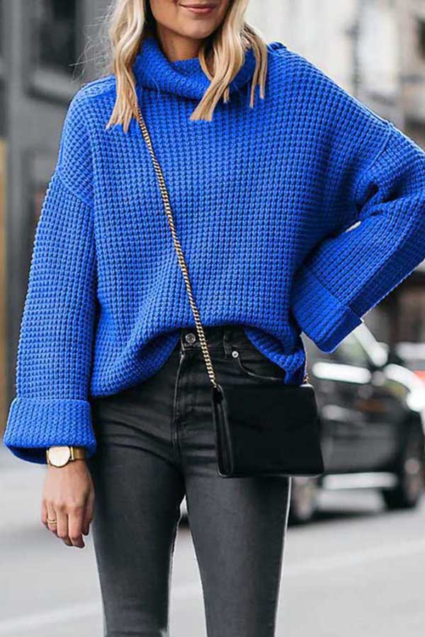 Loose High-Collar Knitted Sweater