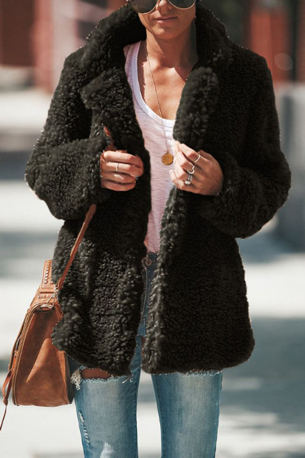 Solid Color Turn-Collar Long Sleeve Coat