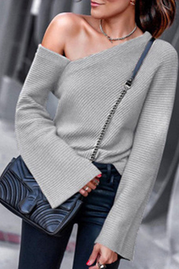 Off Shoulder Long Sleeve Knitted Sweater