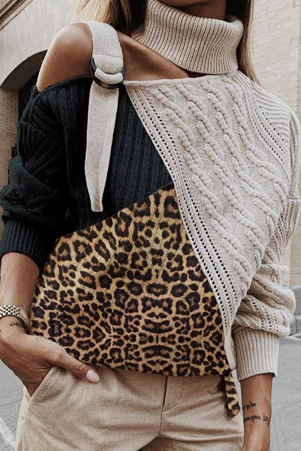 Leopard  Knitted Turtleneck Sweater