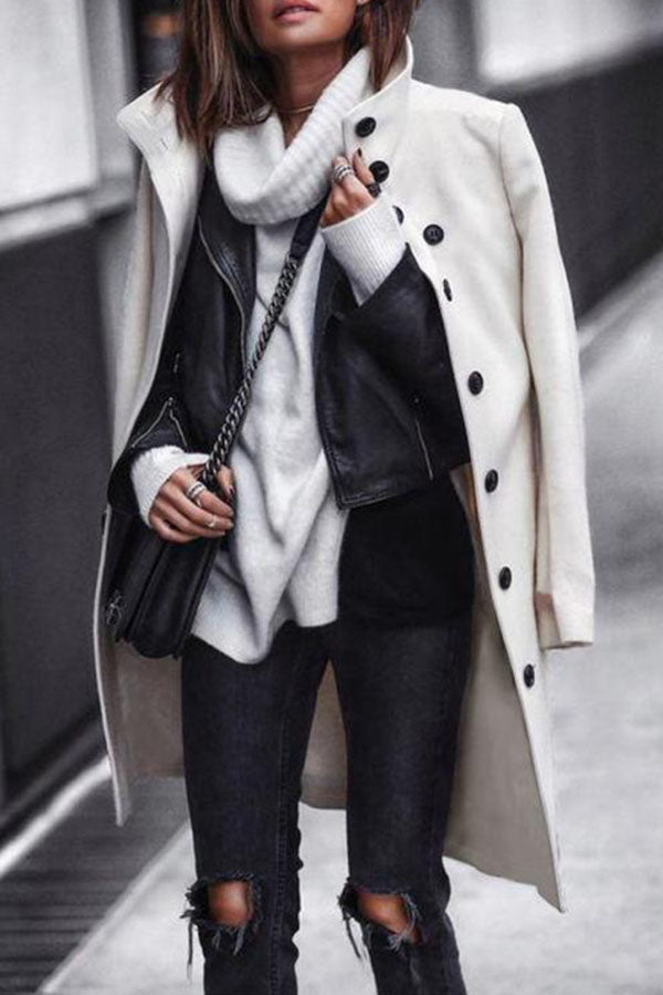 Solid Color Button Long Coat