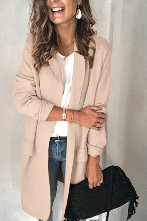 Solid Color Long Sleeve Pocket Suit Coat