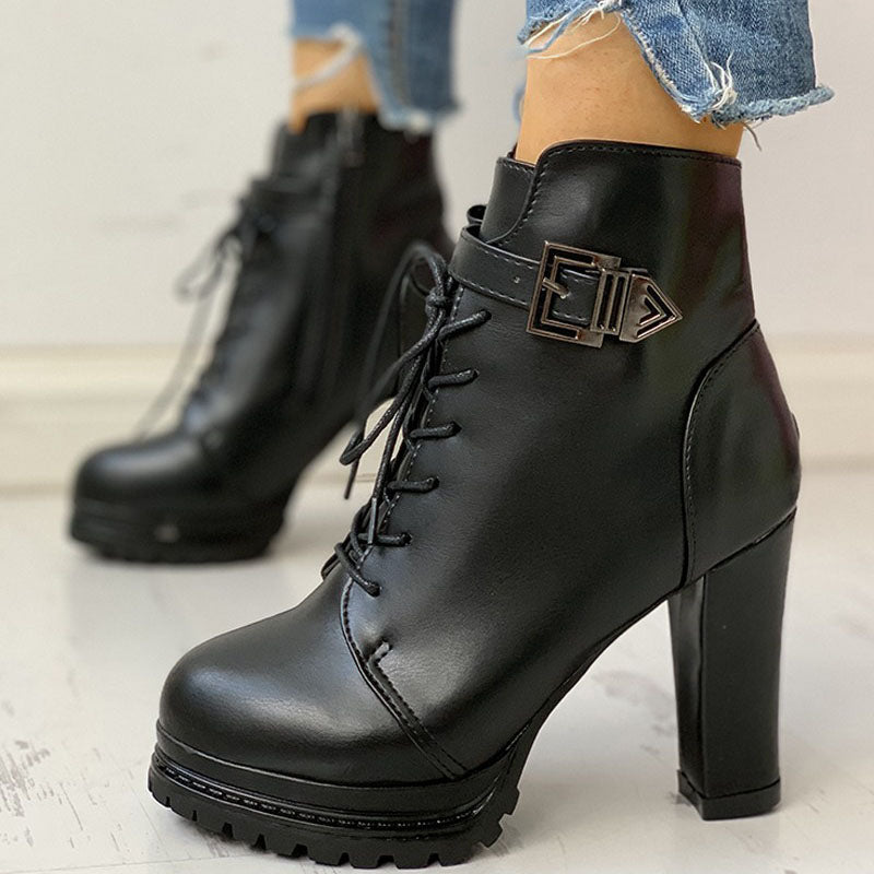 Thick Heel Lace Up Short Boots