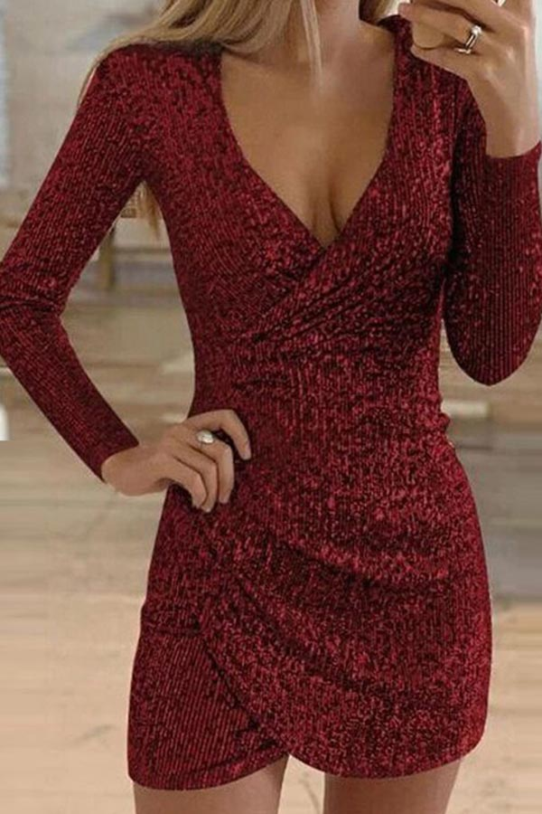 Pleated V-Neck Irregular Sequin Dress