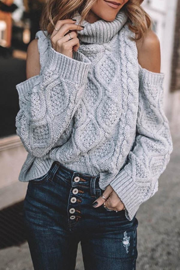 High Lapel Twist Long Sleeve Sweater