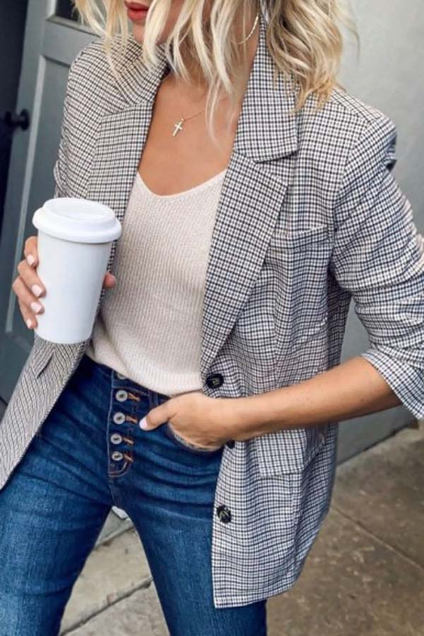 Plaid Button Blazer Coat