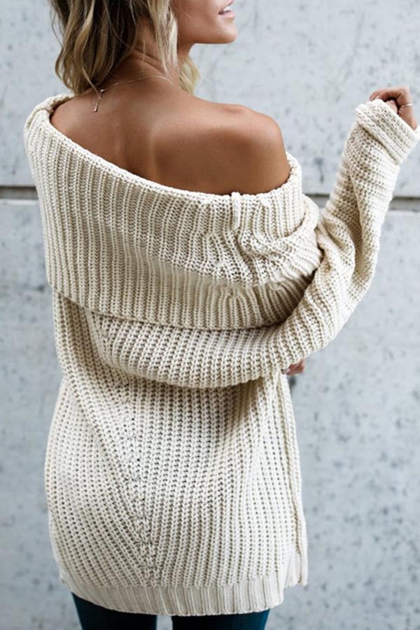 Solid Color Off Shoulder Sweater